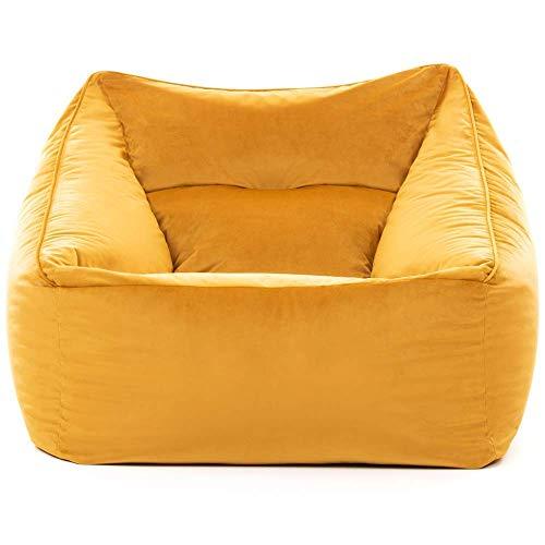 """Icon Übergroßer Sitzsack-Sessel """"Milano"""", Ockergelb, Riesige Sitzsäcke für das Wohnzimmer, 100cm x 88cm, Extra groß, Samt, Sitzsäcke für das Wohnzimmer"""