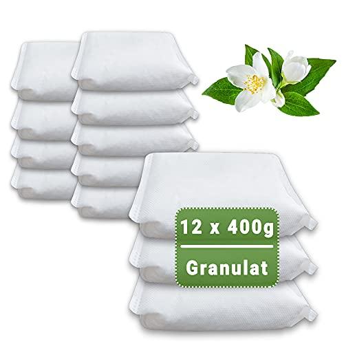 12 x 400 Gramm (4E) Luftentfeuchter Nachfüllpack Vliesbeutel XXL Box Granulat Nachfüllen Raumentfeuchter (Jasmin-Duft)