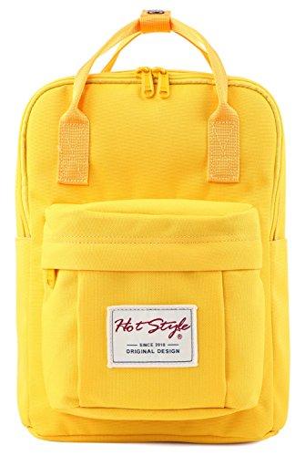 BESTIE 12' Small Backpack for Women, Girl's Cute Mini Bookbag Purse, Little Square Travel Bag, Yellow