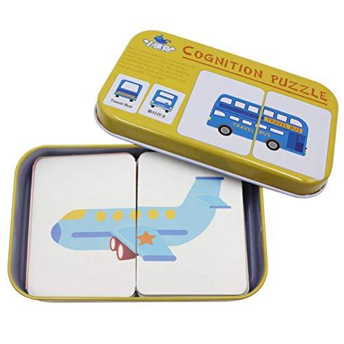 AimdonR Anti-Riss-Karteikarten Lernen Alphabet Puzzle-Karten, 32 Stück Anti-Riss-Karteikarten Lernen Alphabet Puzzle-Karten mit Metallbox Passendes Puzzle Kognitives Lernspielzeug