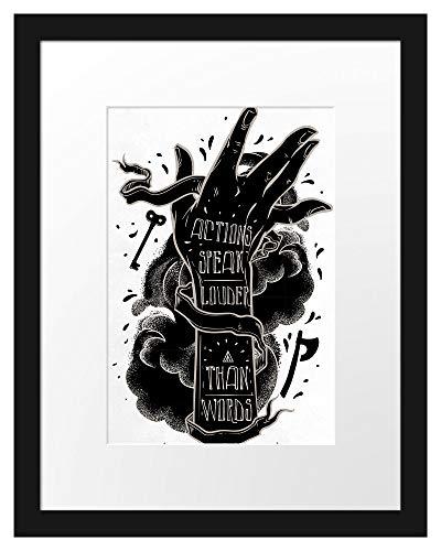 Picati Actions Speak Louder Light Bilderrahmen mit Galerie-Passepartout/Format: 38x30cm / garahmt/hochwertige Leinwandbild Alternative
