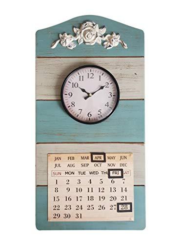 DynaSun Art - Reloj calendario de pared hecho de madera y metal retro vintage para decoración del hogar, salón o cocina, efecto antiguo, estilo shabby chic, 29,5 x 58 cm