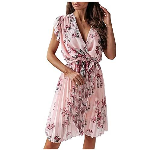 Alwayswin Sommarklänning damer kortärmad blusklänning sexig V-ringad boho-klänning elegant blommig veckad klänning smal söt strandklänning sommar knälång fritidsklänning midiklänning festklänning