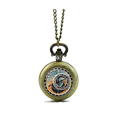 lamnxjuf Reloj astronómico Reloj de Bolsillo con Memoria y Collar de Estilo Vintage