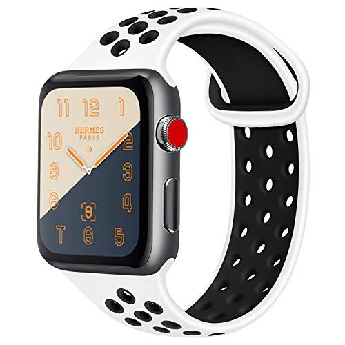 ATUP コンパチブル Apple Watch バンド 42mm 38mm 44mm 40mm、ソフトシリコン交換用リストバンド iWatch Series4/3/2/1に対応、iWatchは含まれていません (38/40 M/L, 02 白/黒)