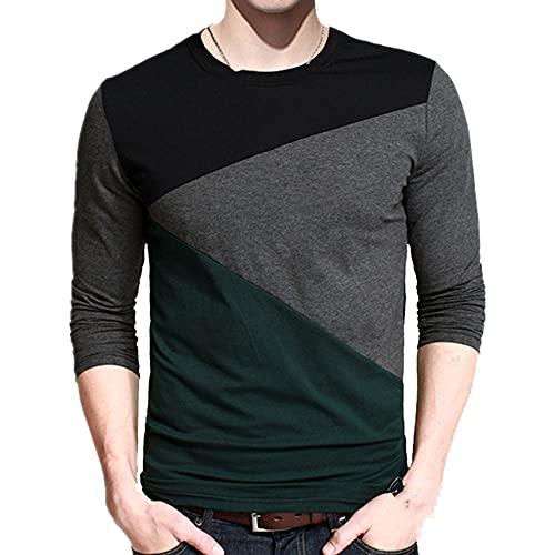 N\P Camisas casuales Hombres Manga Larga Patchwork Diseño Streetwear Trend