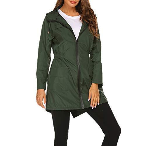 """WSLCN jaqueta longa feminina à prova d'água para uso ao ar livre, leve, à prova de vento, casual, esportivo, casaco, Verde, Bust 42.2"""" (Asian S)"""