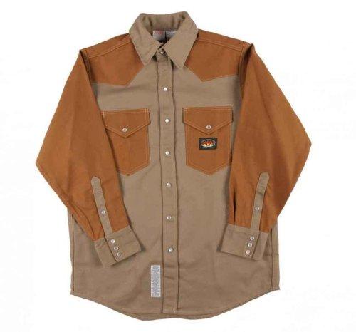 Men's Rasco 10-oz. Fire Retardant Two Tone Long Sleeve Western Shirt, KHAKI/DUCK, LG