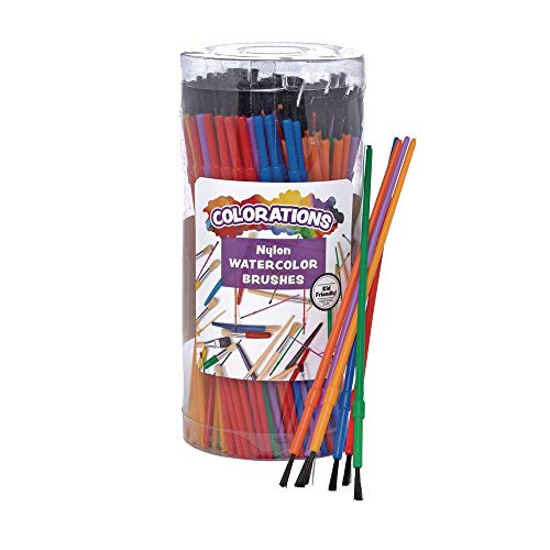 Colorations - 144WB Paint Brushes, Set of 144, 3 Widths, Nylon Bristles, Classroom, Painting, Art, Classroom Supplies, Art Supplies, School Supplies, Kids, Projects, Crafts, Groups, Watercolor