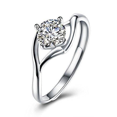 Jösva Damesring, 925 sterling zilver, open trouwring, verstelbare verlovingsring met witte AAAAA zirkonia-feestring, perfect verjaardagscadeau voor vrouw en vriendin - geschenkverpakking