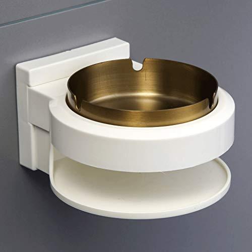ZJH Ceniceros Cenicero, sin Punch, Multiusos baño de Acero Inoxidable, Nuevo Modelo Creativo, cenicero, tamaño 14 * 12,5 * 7,5 cm montado en la Pared Cenicero de para (Color : Gold, tamaño : Round)