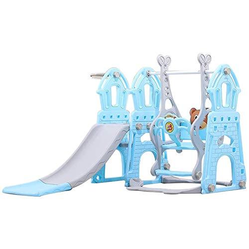 Muyuuu 3 en 1 Escalador deslizante Playset Baloncesto Hoop, camarón pequeño y columpio con marco de bolas y balón y pedal, área de juegos para niños para al aire libre y interior, pequeño parque infan