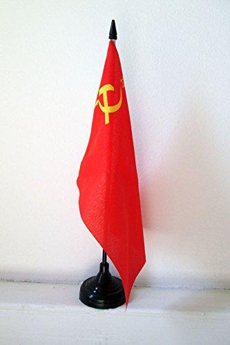 AZ FLAG Bandera de Mesa de la URSS 21x14cm - BANDERINA de DESPACHO ROJA - Comunista – SOVIÉTICA - Rusia 14 x 21 cm
