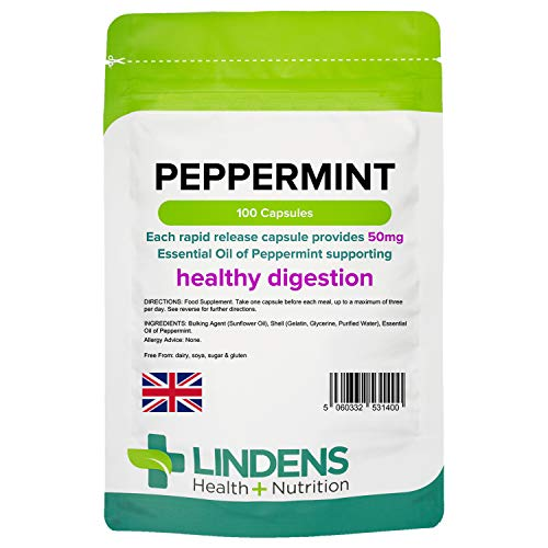 Lindens Peppermint Oil 50mg Capsules - 100 Pack - Essential Oil of Peppermint Supporting Healthy Digestion. - UK Manufacturer, Letterbox Friendly