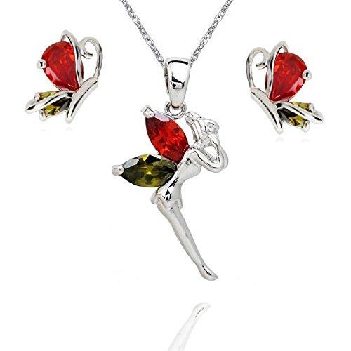 Hada Tinkerbell Mariposa Juego de Joyas con Colorido Cristales austríacos de Zirconia Collar...