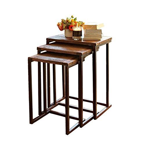 Jcnfa-bijzettafel Set van 3, Nesting salontafels, industriële stapelbare metalen eindzijtafels, modern voor slaapkamer woonkamer, tafelset met stevige metalen poten