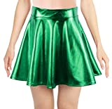 Simplicity Metallic Ballet Dance Flared Skater Skirt Fancy Dress, Grass Green