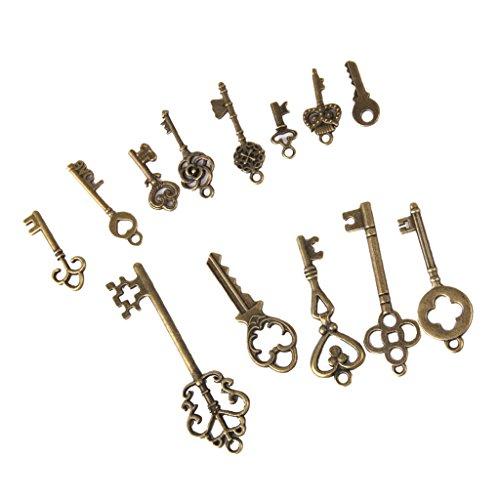 13er Set Retro Bronze Schlüssel Schlüssel Anhänger Charms Bead Schmuck Deko Für Halskette Kette DIY Schmucherstellung