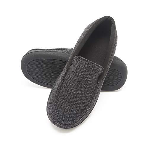 Hanes Men's Slippers House Shoes Moccasin Comfort Memory Foam Indoor Outdoor Fresh IQ (X Large (11-12), Dark Black)