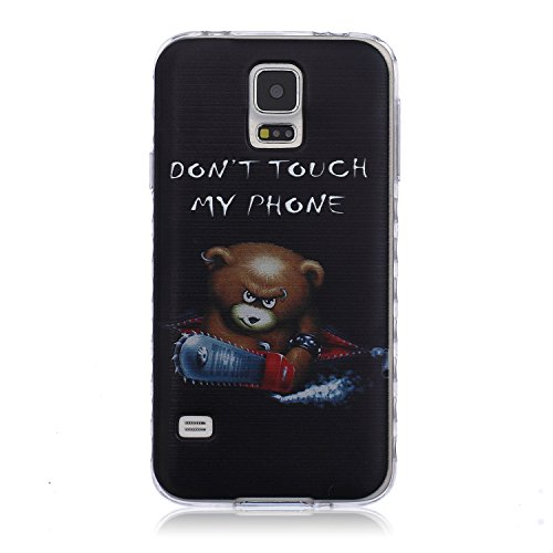 Samsung Galaxy S5 Case with Cute Cartoon Bear Pattern,UZZO Ultra Thin TPU Case Transparent Skin Bumper Silicone Back Case Cover for Samsung Galaxy S5 (Don't Touch My Phone)