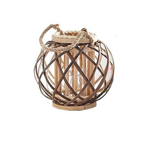 MYKK Faroles Cáñamo Cuerda Mimbre Linterna Creativa Tejida A Mano Lámpara De Halloween Vintage Lámpara De Decoración del Hogar 26cm como se Muestra