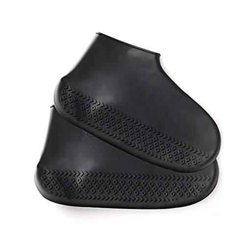 WXHXSRJ Aibrou Fundas Impermeables para Zapatos, Reutilizables, Antideslizantes, de Silicona, Botas de Lluvia, para Mujeres/Hombres,Negro,L