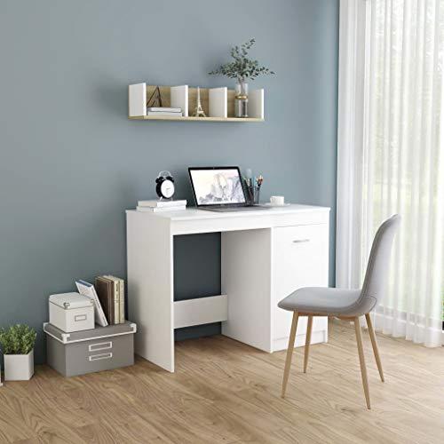 vidaXL Escritorio de Ordenador Despacho Ejecutivo Oficina Estudio Robusto Estable Simple Aglomerado Blanco 100x50x76 cm