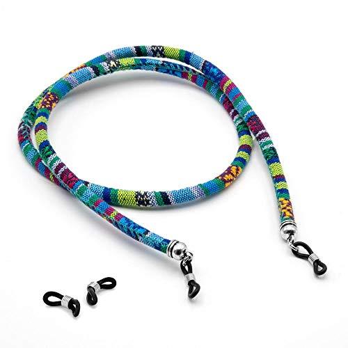 RUBY - Cordon Etnico Para Gafas, Correas De Sujecion Para Gafas De Sol, Retenedor De Gafas, Cuerda Para Gafas Etnico, Cordones Vintage Accesorios Para Gafas, Sunglass Holder (Azul)