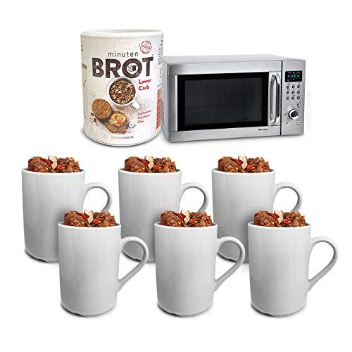 Minutenbrot Lower Carb Backmischung 480g für 6 kleine Brote: Kohlehydratarm, Proteinreich, Laktosefrei und Vegan für optimale Fitness