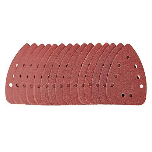 LUX-TOOLS Schleifauflagen-Set 96mm x 140mm mit Klett & verschiedenen Körnungen (K80, K120, K240), 15-teilig | 15 Schleifauflagen für Deltaschleifer zur Bearbeitung von Holz & Metall