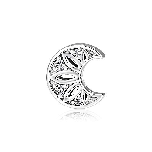CKK Jewelry Fit for Pandora Bracelets Necklaces 100% 925 Sterling Silver Moon and Stars Charm Bead 2.99g.