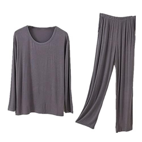 Traje de pijama de hombre de gran tamaño O-cuello primavera servicio hogar verano suave dormir top y pantalones, gris oscuro, L