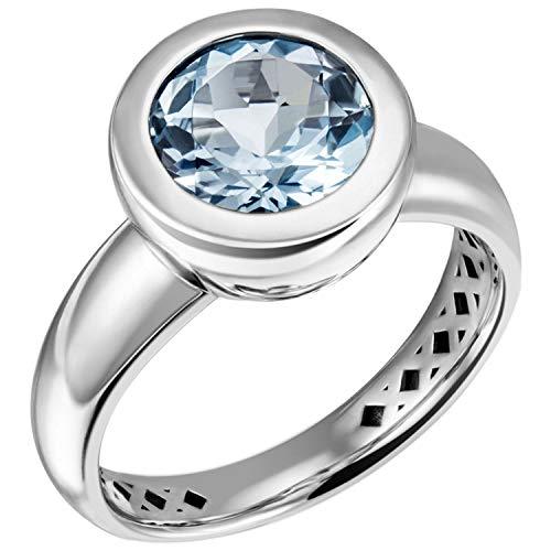 JOBO Damen-Ring aus 925 Silber mit Blautopas Größe 58