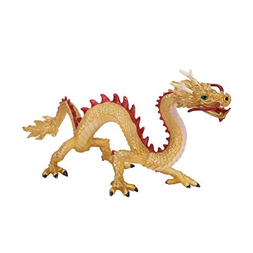 LQKYWNA 24 x 11cm Chinese Dragon Kids Toy Home Decoration Simulation Mascot Loong Model Safe Figurines Toys for Children (Gold)