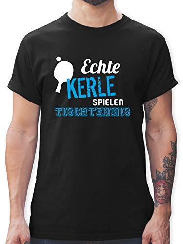 Sonstige Sportarten - Echte Kerle Spielen Tischtennis - S - Schwarz - t Shirt Herren bücher - L190 - Tshirt Herren und Männer T-Shirts