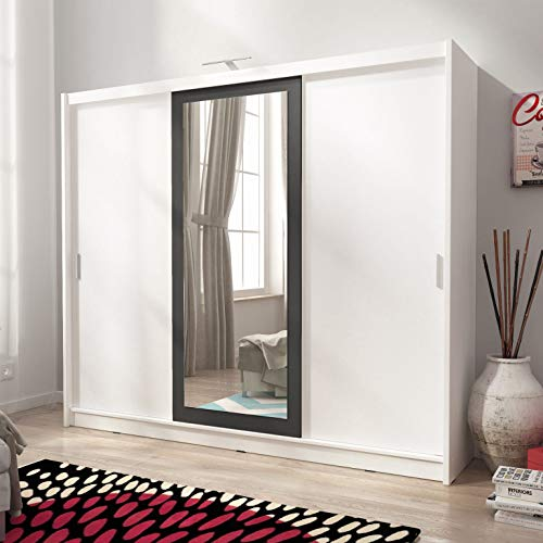 PSK SARAH II 250 - Armario con 3 puertas corredizas espejadas para dormitorio grande, luces LED de estilo moderno color blanco