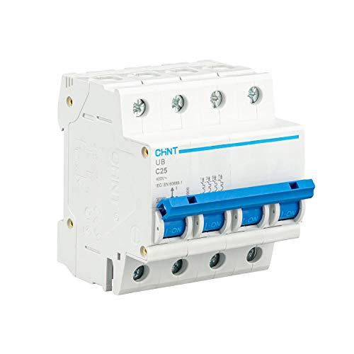 CHINT Interruptor Automatico Magnetotermico Gama Domestica Curva C (4 Polos, 25A)