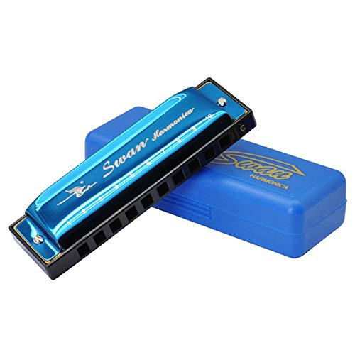 Harmonica Professional Harp Harmoc Key of C 10 Hole Polyphony Diatonic Mouth Organ with Case for Blues Folk Jazz Pop for Adult Kid Children Student Teaching Beginner Gift Blue