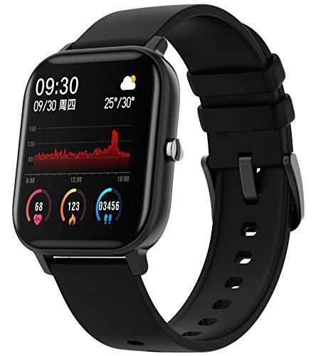 Fitness Armband Uhr Smartwatch mit Blutdruckmessung Herren Fitnessuhr Sportuhren Schrittzähler Pulsmesser Kalorienzähler Pulsuhren Android IOS Tracker Watch Damen Männer Armbanduhr Schwarz