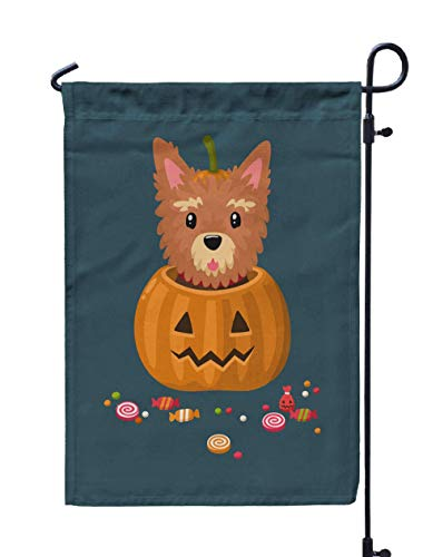 UIJDIAm Fall Garden Flag,Home Yard Decorative 12X18 Inches Festive Halloween Cupcakes Treats Decorated Cream Double Sided Seasonal Garden Flags Halloween Thanksgiving Garden Flag,Peach Gray