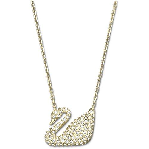 Swarovski Swan Halskette, weiss, vergoldet