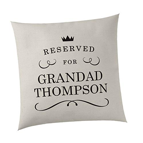 SMARTYPANTS Personalised Reserved for. Cushion Cover - Add Any Family Member - Cute Novelty Gift Present - Home Living Room Bedroom - Chair Sofa Present Gift Birthday Christmas (Beige)