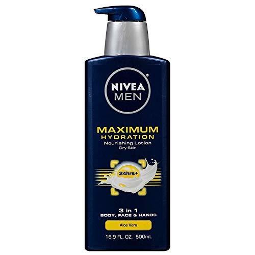 NIVEA FOR MEN Maximum Hydration Nourishing Lotion, Aloe Vera 16.90 oz (Pack of 4)