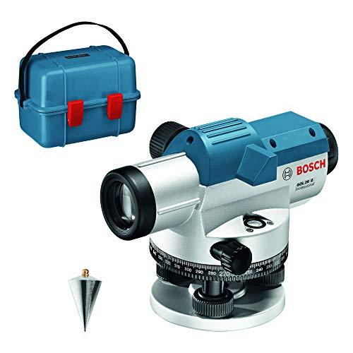 Bosch Professional Optisches Nivelliergerät GOL 26 G (26-fache Vergrößerung, Maßeinheit: 400 Gon, Arbeitsbereich: bis zu 100 m, im Transportkoffer)