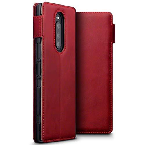 TERRAPIN, Kompatibel mit Sony Xperia 1 Hülle, ECHT Spaltleder Börsen Tasche - Slim Fit - Betrachtungsstand - Kartenschlitze - Rot