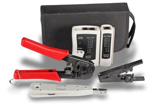 SCE Network Home/Office de red Juego de herramientas o herramientas funda, ideal para el servicio in situ, compuesto de crimpadora, leituns Comprobador/Tester, herramienta de perforación. y pelacables