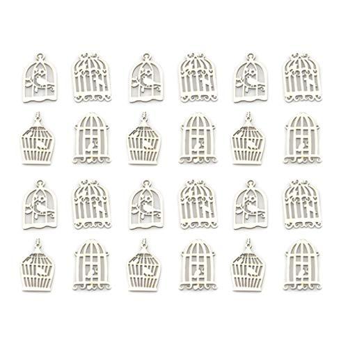 Artibetter 100 Piezas Piezas de Madera Jaula de Pájaros Recortes de Madera Adornos Rodajas Adornos para Manualidades Y Pintura DIY Decoración de Fiesta de Pascua