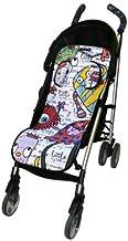 Tris&Ton colchoneta silla de paseo ligera universal para carrito cochecito bebe transpirable de microfibra + protección de arneses (Variedad de diseños disponibles) (Trisyton)