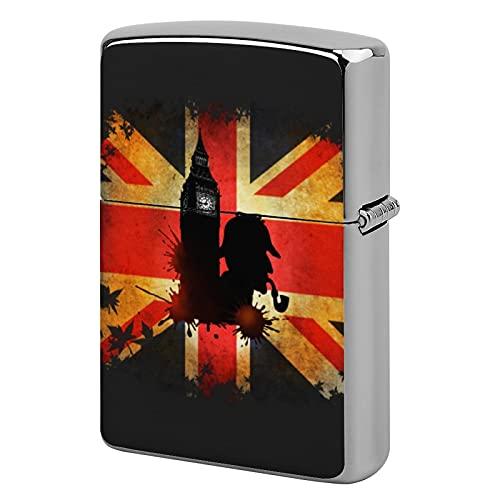 Custodia per accendino tascabile, unisex, in metallo, idea regalo, perfetta per sigarette, sigari, candele, Sherlock Holmes a Londra.