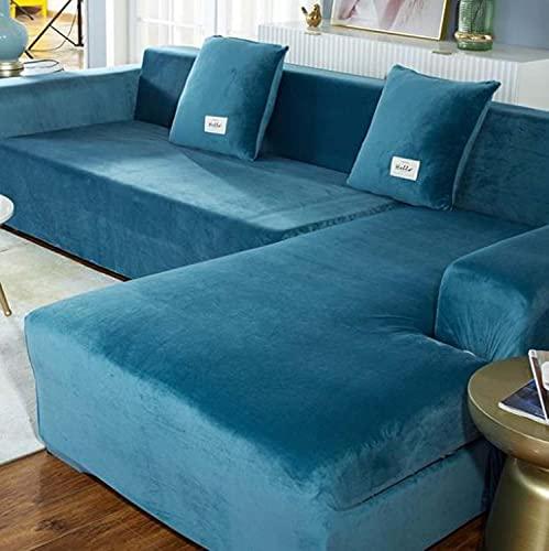 Funda de sofá de terciopelo elástico en forma de L, duradera, antideslizante, extraíble, supersuave, gruesa, lavable, para perros, gatos, mascotas (azul oscuro, 3 asientos)